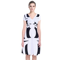 White Spider Short Sleeve Front Wrap Dress