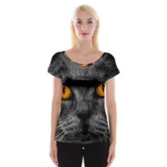 Cat Eyes Background Image Hypnosis Cap Sleeve Tops