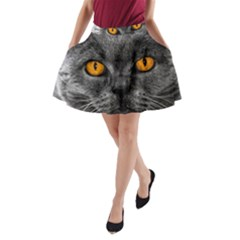 Cat Eyes Background Image Hypnosis A Line Pocket Skirt by BangZart