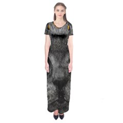 Cat Eyes Background Image Hypnosis Short Sleeve Maxi Dress