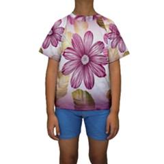 Flower Print Fabric Pattern Texture Kids  Short Sleeve Swimwear