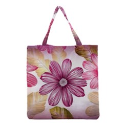 Flower Print Fabric Pattern Texture Grocery Tote Bag by BangZart