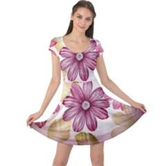 Flower Print Fabric Pattern Texture Cap Sleeve Dresses