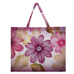 Flower Print Fabric Pattern Texture Zipper Large Tote Bag by BangZart
