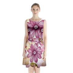 Flower Print Fabric Pattern Texture Sleeveless Waist Tie Chiffon Dress