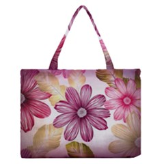 Flower Print Fabric Pattern Texture Medium Zipper Tote Bag