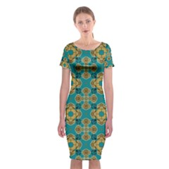 Vintage Pattern Unique Elegant Classic Short Sleeve Midi Dress