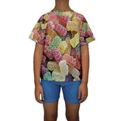 Jelly Beans Candy Sour Sweet Kids  Short Sleeve Swimwear
