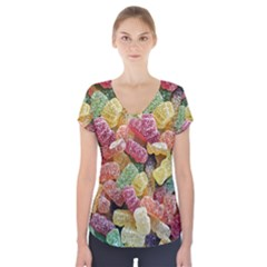 Jelly Beans Candy Sour Sweet Short Sleeve Front Detail Top