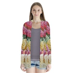 Jelly Beans Candy Sour Sweet Drape Collar Cardigan