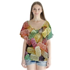 Jelly Beans Candy Sour Sweet Flutter Sleeve Top