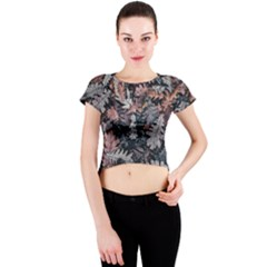Leaf Leaves Autumn Fall Brown Crew Neck Crop Top