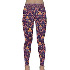 Abstract Background Floral Pattern Classic Yoga Leggings