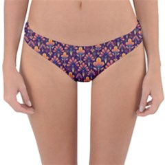 Abstract Background Floral Pattern Reversible Hipster Bikini Bottoms