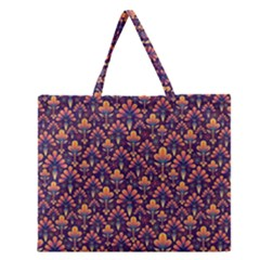Abstract Background Floral Pattern Zipper Large Tote Bag by BangZart