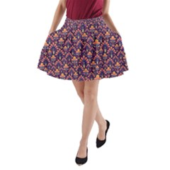Abstract Background Floral Pattern A Line Pocket Skirt by BangZart
