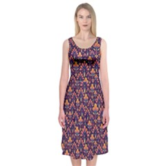 Abstract Background Floral Pattern Midi Sleeveless Dress