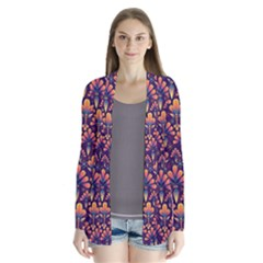 Abstract Background Floral Pattern Drape Collar Cardigan