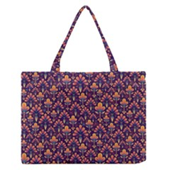 Abstract Background Floral Pattern Medium Zipper Tote Bag
