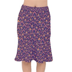 Abstract Background Floral Pattern Mermaid Skirt