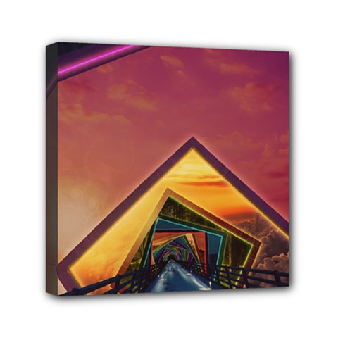 The Rainbow Bridge Of A Thousand Fractal Colors Mini Canvas 6  X 6  by jayaprime