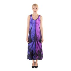 Beautiful Lilac Fractal Feathers Of The Starling Sleeveless Maxi Dress