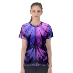 Beautiful Lilac Fractal Feathers Of The Starling Women s Sport Mesh Tee by jayaprime