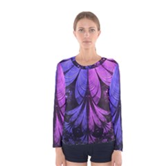 Beautiful Lilac Fractal Feathers Of The Starling Women s Long Sleeve Tee by jayaprime