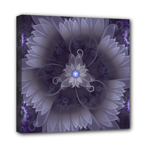 Amazing Fractal Triskelion Purple Passion Flower Mini Canvas 8  X 8  by jayaprime