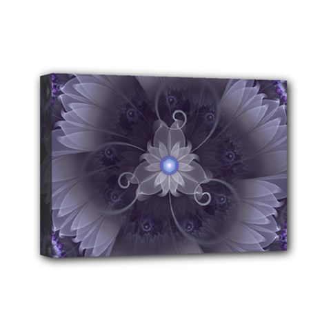 Amazing Fractal Triskelion Purple Passion Flower Mini Canvas 7  X 5  by jayaprime