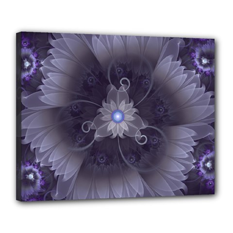 Amazing Fractal Triskelion Purple Passion Flower Canvas 20  X 16  by jayaprime