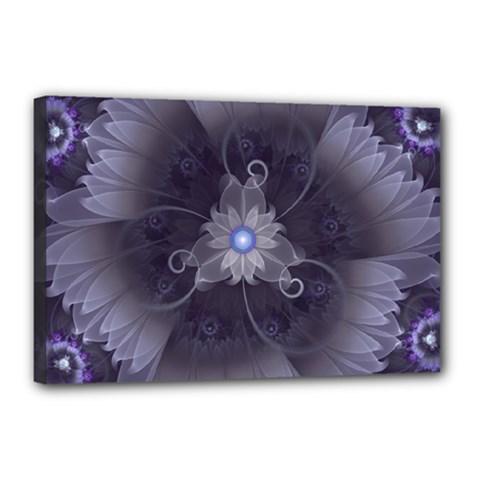 Amazing Fractal Triskelion Purple Passion Flower Canvas 18  X 12  by beautifulfractals