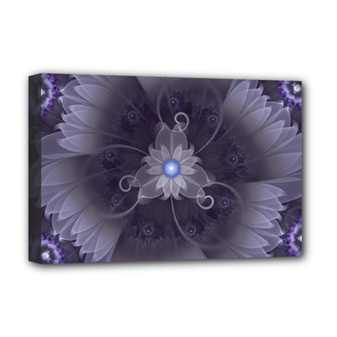 Amazing Fractal Triskelion Purple Passion Flower Deluxe Canvas 18  X 12   by jayaprime
