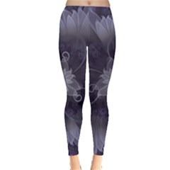 Amazing Fractal Triskelion Purple Passion Flower Leggings  by beautifulfractals