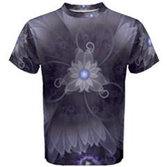 Amazing Fractal Triskelion Purple Passion Flower Men s Cotton Tee