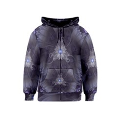 Amazing Fractal Triskelion Purple Passion Flower Kids  Zipper Hoodie by jayaprime