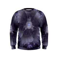 Amazing Fractal Triskelion Purple Passion Flower Kids  Sweatshirt by jayaprime