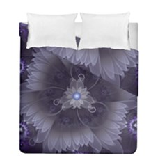 Amazing Fractal Triskelion Purple Passion Flower Duvet Cover Double Side (full/ Double Size) by jayaprime
