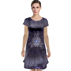 Amazing Fractal Triskelion Purple Passion Flower Cap Sleeve Nightdress by jayaprime