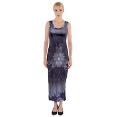 Amazing Fractal Triskelion Purple Passion Flower Fitted Maxi Dress by jayaprime