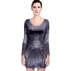 Amazing Fractal Triskelion Purple Passion Flower Long Sleeve Velvet Bodycon Dress by jayaprime