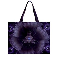 Amazing Fractal Triskelion Purple Passion Flower Medium Zipper Tote Bag by beautifulfractals