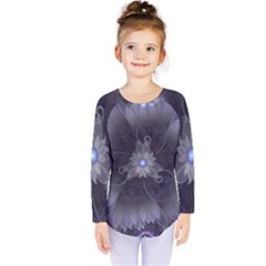 Amazing Fractal Triskelion Purple Passion Flower Kids  Long Sleeve Tee by jayaprime