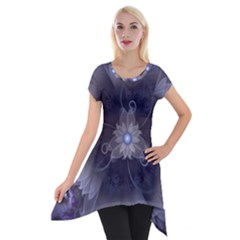 Amazing Fractal Triskelion Purple Passion Flower Short Sleeve Side Drop Tunic by beautifulfractals
