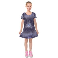 Amazing Fractal Triskelion Purple Passion Flower Kids  Short Sleeve Velvet Dress by jayaprime