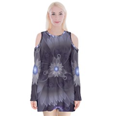 Amazing Fractal Triskelion Purple Passion Flower Velvet Long Sleeve Shoulder Cutout Dress by jayaprime