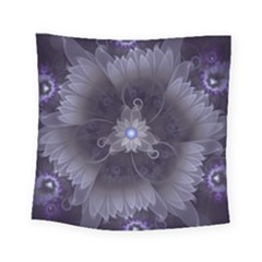 Amazing Fractal Triskelion Purple Passion Flower Square Tapestry (small) by jayaprime