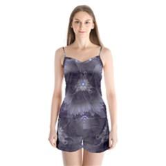 Amazing Fractal Triskelion Purple Passion Flower Satin Pajamas Set by jayaprime