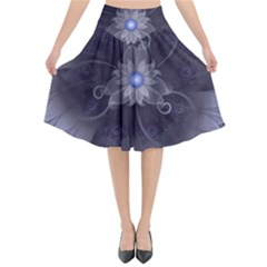 Amazing Fractal Triskelion Purple Passion Flower Flared Midi Skirt by jayaprime
