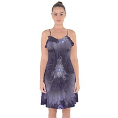 Amazing Fractal Triskelion Purple Passion Flower Ruffle Detail Chiffon Dress by jayaprime